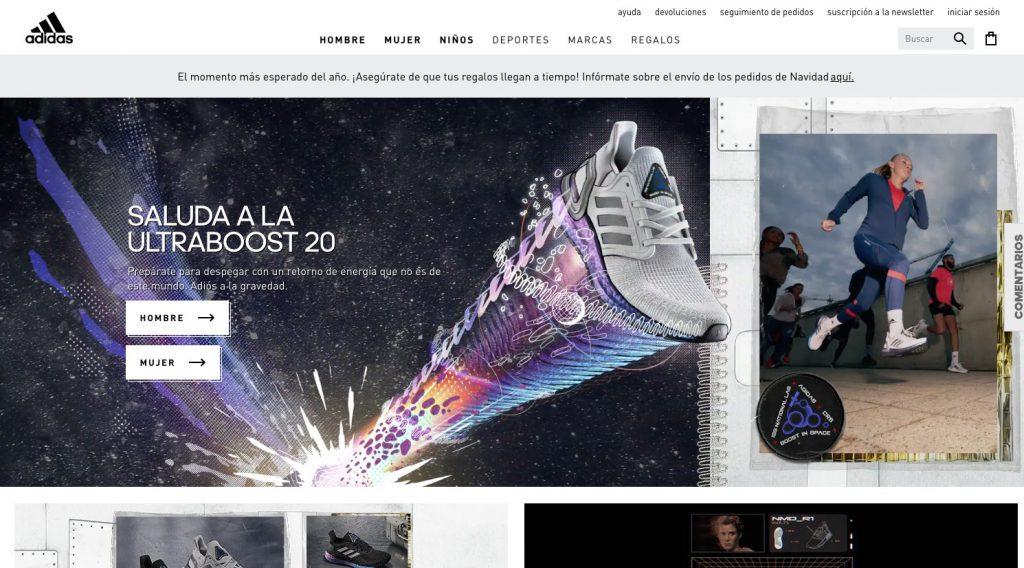 adidas 3D tendencias de diseño web en 2020