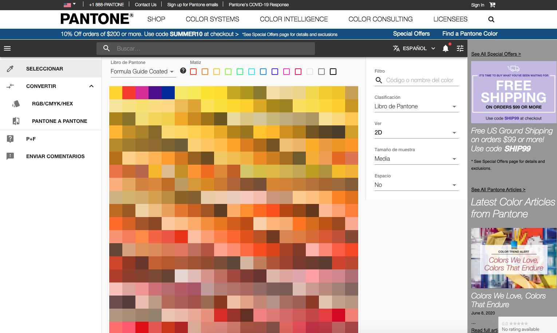 Como saber el Pantone de un color