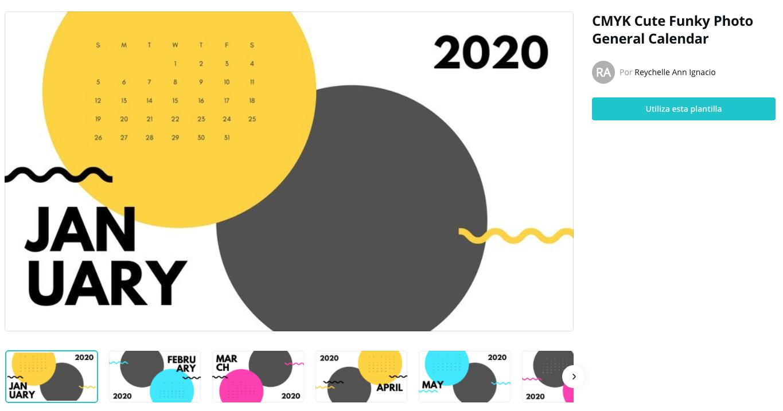 plantilla calendario 2020 para imprimir